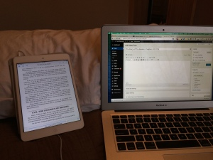 My workspace for posting on my bed