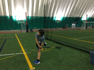 Isaac throwing the standing Turbo Javelin
