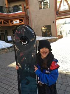 Jadyn winning the snowboard